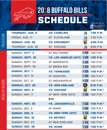 Buffalo Bills 2018 Schedule