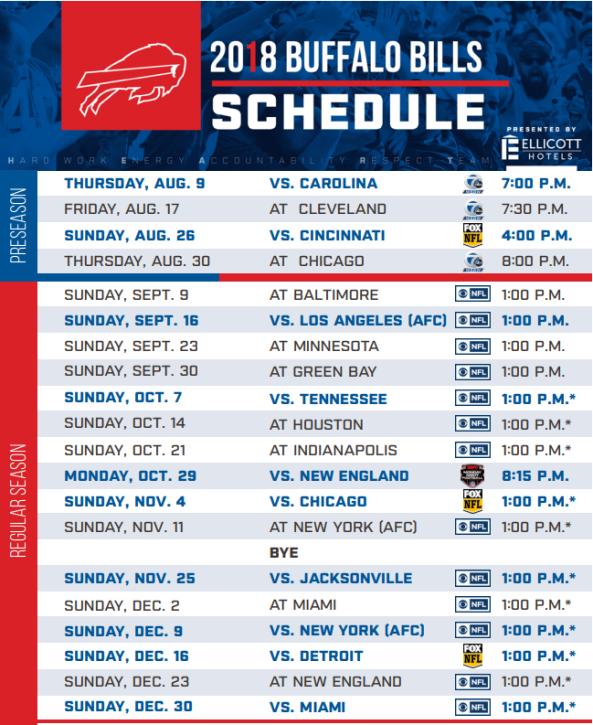 Buffalo Bills 2018 Schedule